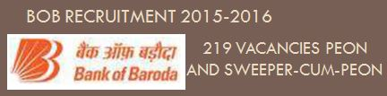 Bank Of Baroda Recruitment Peon cum Sweeper November 2015