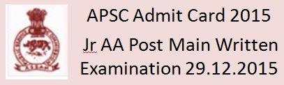 APSC Admit Card 2016