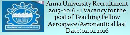 Anna University Recruitment December 2015 MIT Campus
