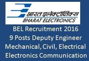BEL Deputy Engineer Recruitment 2015