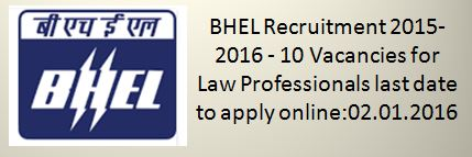 BHEL Recruitment December 2015 2016