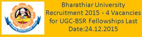 Bharathiar University Recruitment December 2015