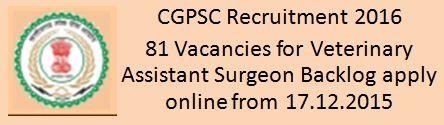 CGPSC Recruitment December 2015 2016