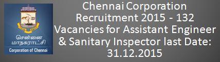 Chennai Corporation Recruitment December 2015