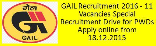 GAIL Recruitment SRD for PWDs 2015 2016