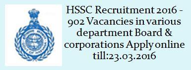 HSSC Steno Typist Recruitment 2015 2016