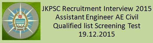 JKPSC Assistant Engineer AC Interview Schedule 2015