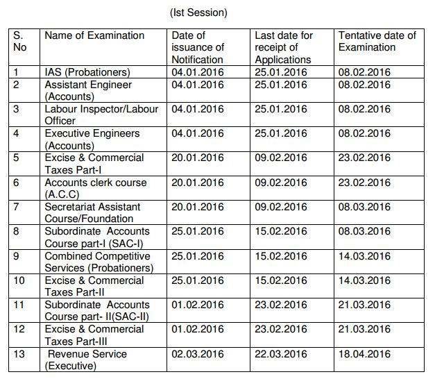 JKPSC Calendar 2016 First Session