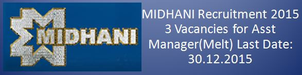 MIDHANI Recruitment December 2015