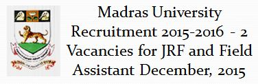 Madras University Recruitment December 2015