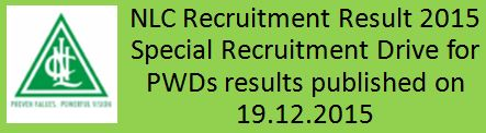 NLC India SRD for PWD result