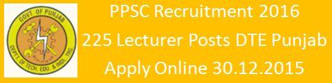 PPSC Recruitment 225 Lecturer Vacancies 2015 16