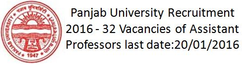 Panjab University Recruitment 2015 Assistant Professors