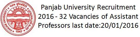 Panjab University Recruitment 2015 Assistant Professors