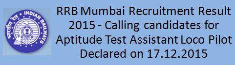RRB Mumbai ALP Result 2015