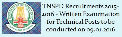 TNSPD Recruitment Examination Notification 2015 2016