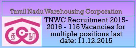 TNWC Recruitment November December 2015 NOTIFICATION