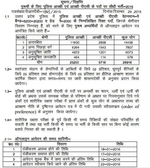 UP Polic Recruitment 2015-16 28916 Vacancies