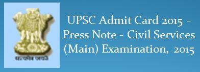 UPSC Main Examination 2015 Admit Card