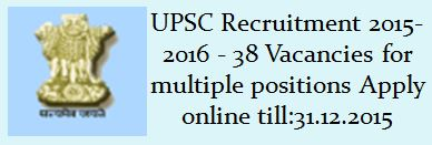 UPSC Recruitment December 2015