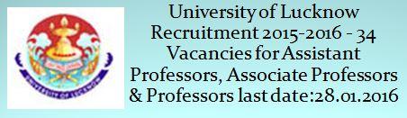 University of Lucknow Recruitment 2015 2016