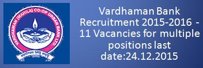Vardhaman Bank recruitment_December 2015