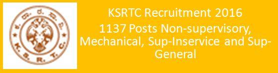 KSRTC Recruitment 2016_1137 Posts