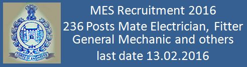 Military Engineer Services Recruitment January 2016 236 Posts