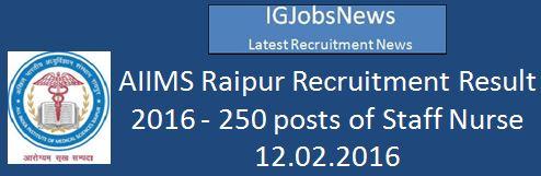 AIIMS Raipur Recruitment Result of Staff Nurse February 12 2016