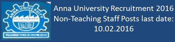 Anna University Recruitment 2016 Food Technology