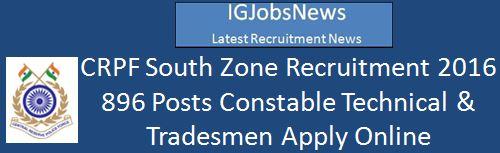 CRPF Recruitment 2016_896 Posts March 2016