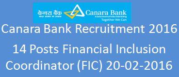 Canara Bank Recruitment 2016 FIC ad in website2016