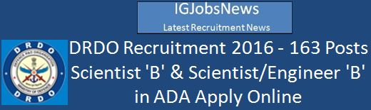 DRDO Recruitment Scientist Engineer B 163 Posts