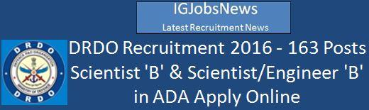 DRDO Recruitment Scientist Engineer B 163 Posts