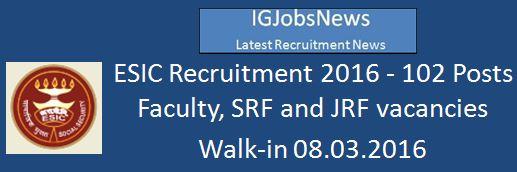 ESIC Hyderabad Recruitment_February 2016_Advertisement