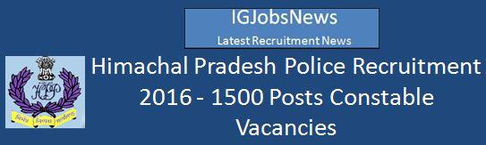 Himachal Pradesh Police Recruitment 2016 Advertisement