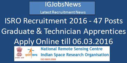 ISRO NRSC Apprentice Recruitment 2016