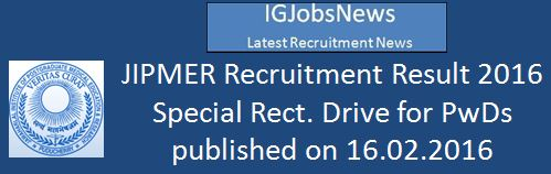 JIPMER Recruitment Result SRD for PWD 2016