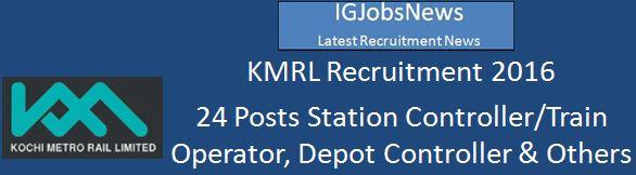 KMRL Recruitment Advertisement 24 Vacancies 2016