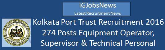 Kolkata Port Trust 2 Posts February 2016 KOPT