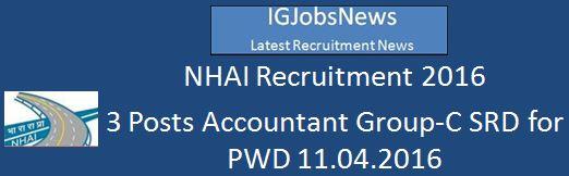 NHAI Recruitment 2016 SRD for PwDs