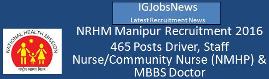 NRHM Manipur Recruitment February 2016 Advertisement
