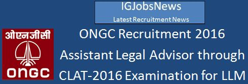 ONGC Recruitment 2016 CLAT-2016 score