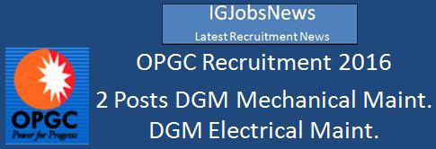OPGC Recruitment 2016 Advertisement