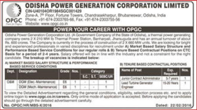 OPGC Recruitment 2016