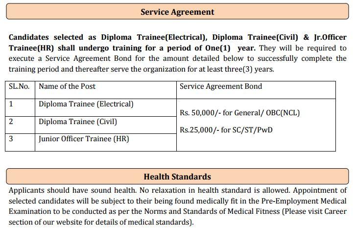 PGCIL Trainee Service Agreement