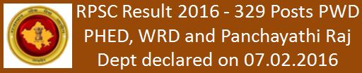 RPSC Result 2016 A.En Exam 2013