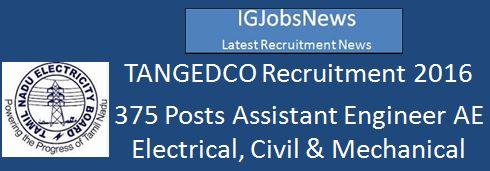 TNEB Recruitment 375 Posts February 2016