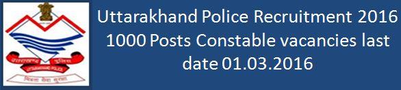 Uttarakhand Police Recruitment 2016 constable Posts 1000