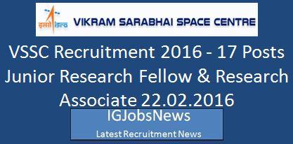 VSSC Recruitment February 2016 17 Posts